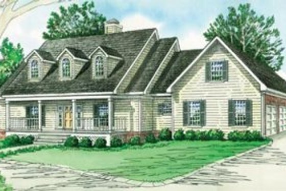 Country Exterior - Front Elevation Plan #16-184