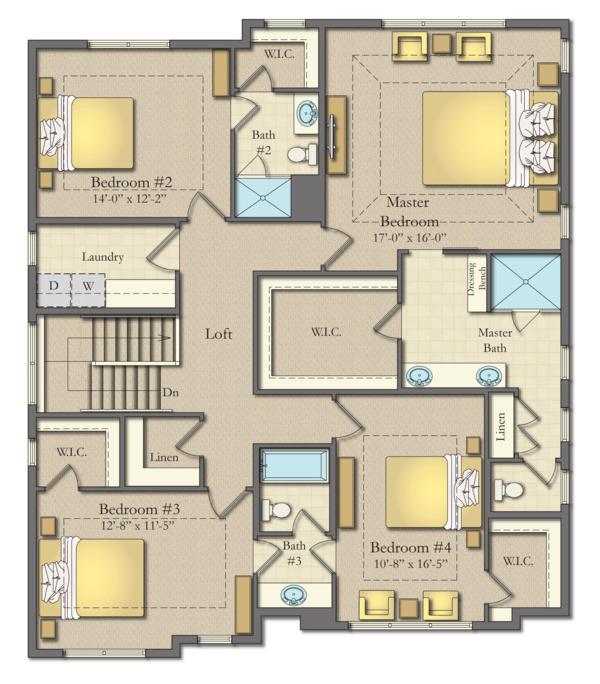 Farmhouse Floor Plan - Upper Floor Plan #1057-15