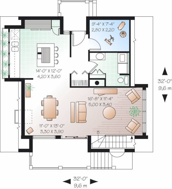 Contemporary Floor Plan - Main Floor Plan Plan #23-751