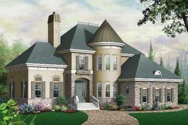 European Exterior - Front Elevation Plan #23-405 - Houseplans.com