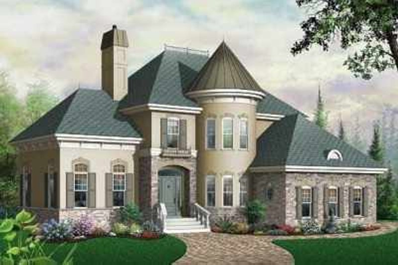 European Style House Plan - 3 Beds 2.5 Baths 2338 Sq/Ft Plan #23-405 Exterior - Front Elevation