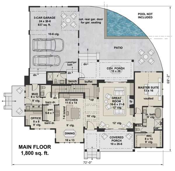 Farmhouse Style House Plan - 4 Beds 4.5 Baths 2886 Sq/Ft Plan #51-1132 Floor Plan - Main Floor Plan