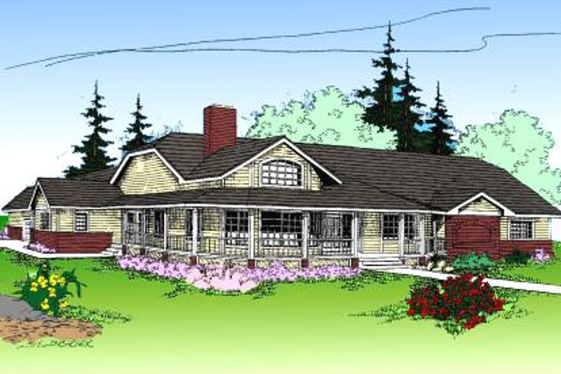 Country Style House Plan - 4 Beds 3.5 Baths 3188 Sq/Ft Plan #60-165 Exterior - Front Elevation