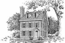 House Blueprint - Colonial Exterior - Front Elevation Plan #72-382