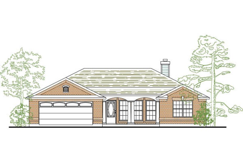 Dream House Plan - Ranch Exterior - Front Elevation Plan #80-134