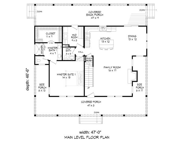 Cabin Floor Plan - Main Floor Plan Plan #932-44