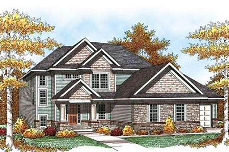 Craftsman Exterior - Front Elevation Plan #70-933