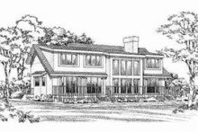 Home Plan - Traditional Exterior - Rear Elevation Plan #72-314