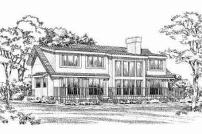 Traditional Exterior - Rear Elevation Plan #72-314 - Houseplans.com