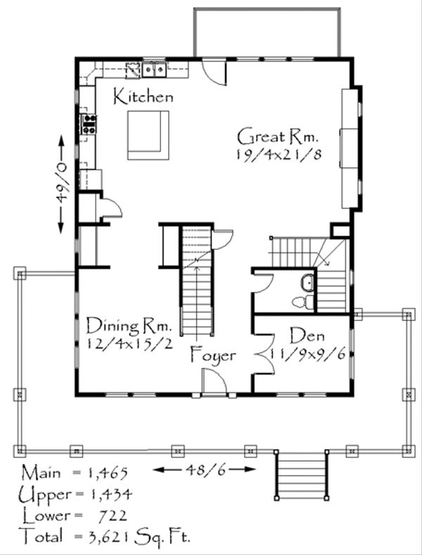 Craftsman Floor Plan - Main Floor Plan Plan #509-35