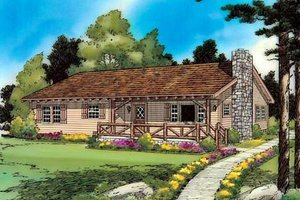 Cabin Exterior - Front Elevation Plan #312-525
