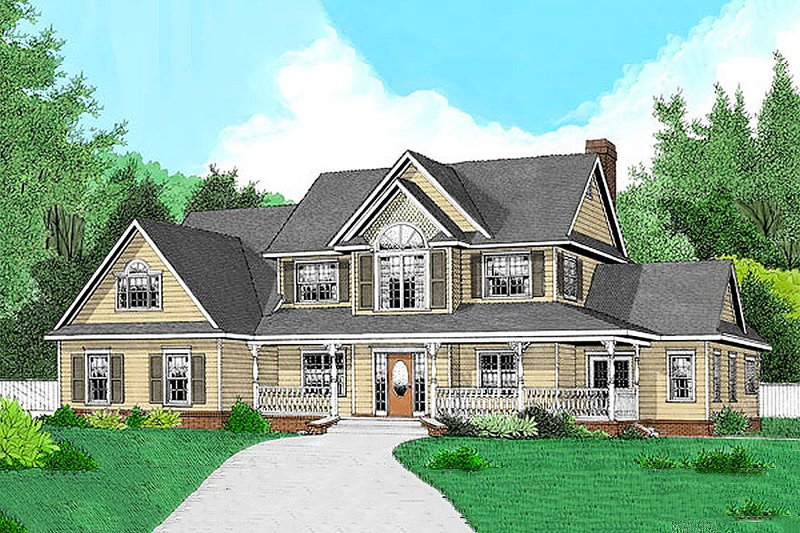Country Style House Plan - 4 Beds 2.5 Baths 2302 Sq/Ft Plan #11-224 Exterior - Front Elevation