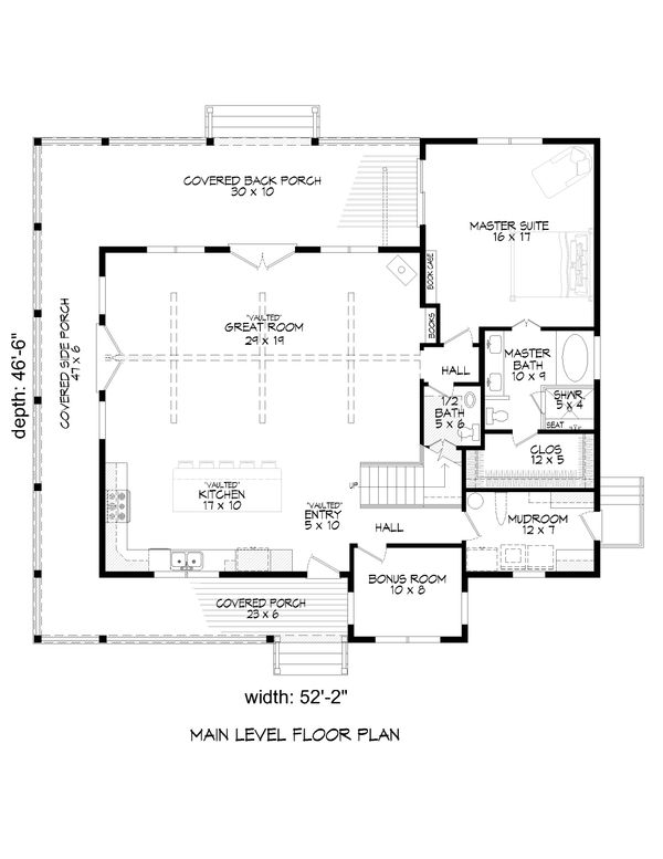 Country Floor Plan - Main Floor Plan Plan #932-59