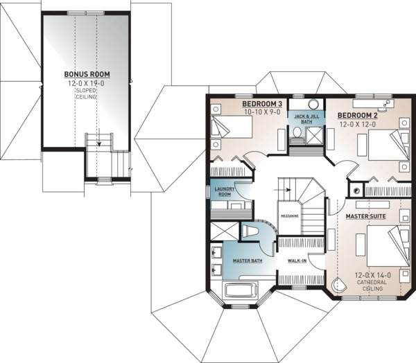 Victorian Floor Plan - Upper Floor Plan Plan #23-749