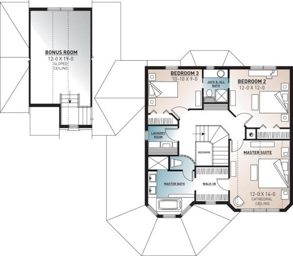 Victorian Floor Plan - Upper Floor Plan #23-749