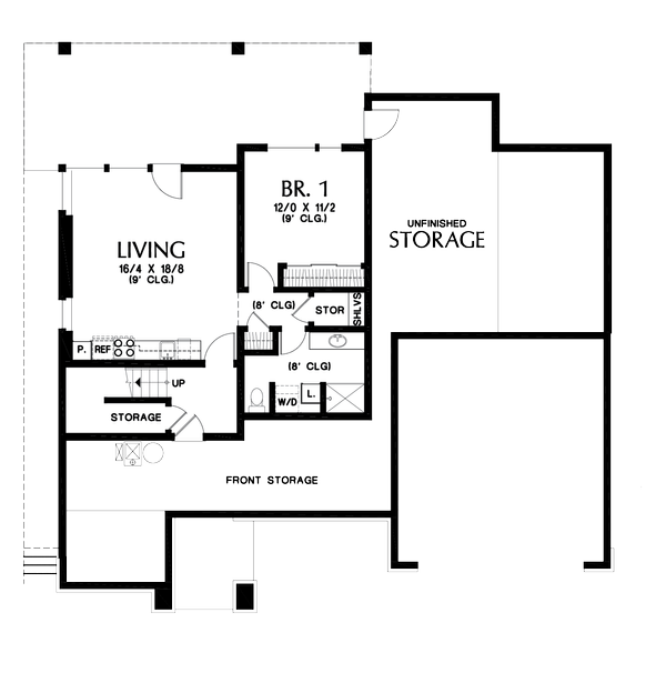 Home Plan - Contemporary Floor Plan - Lower Floor Plan #48-1013
