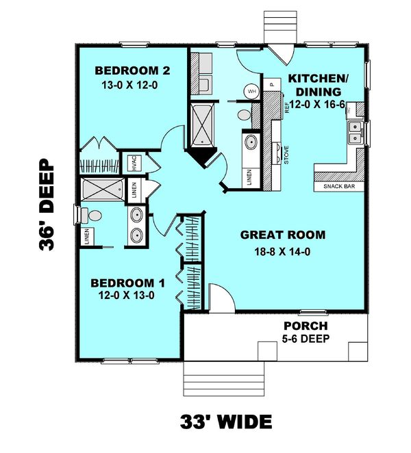 Cottage Floor Plan - Main Floor Plan #44-178