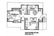 Traditional Style House Plan - 1 Beds 1 Baths 560 Sq/Ft Plan #116-131 Floor Plan - Upper Floor Plan