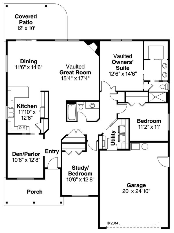 Ranch Floor Plan - Main Floor Plan Plan #124-939