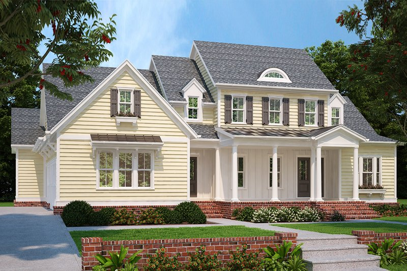 Architectural House Design - Country Exterior - Front Elevation Plan #927-982
