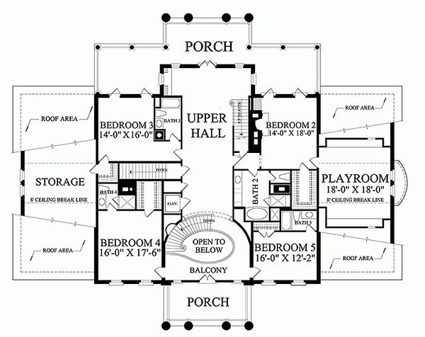 Classical Floor Plan - Upper Floor Plan Plan #137-211