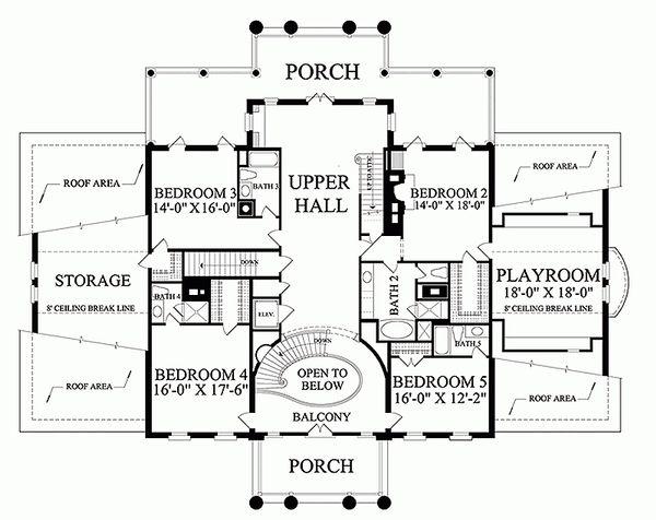 Classical Floor Plan - Upper Floor Plan Plan #137-211