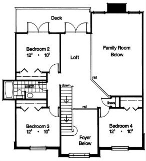 Colonial Floor Plan - Upper Floor Plan Plan #417-328