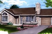 Ranch Style House Plan - 1 Beds 1 Baths 950 Sq/Ft Plan #320-329 Exterior - Front Elevation