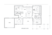 Contemporary Style House Plan - 2 Beds 2 Baths 1636 Sq/Ft Plan #542-2 Floor Plan - Main Floor Plan