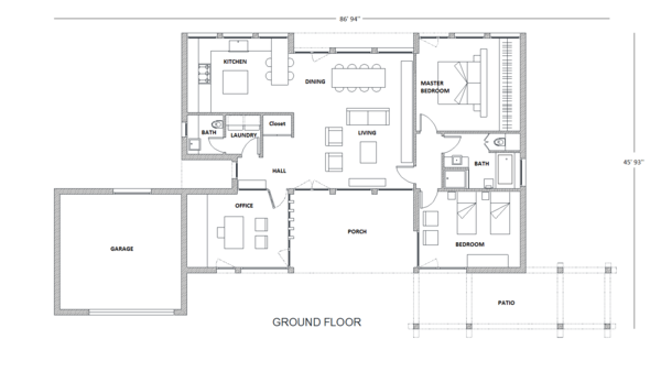 Contemporary Floor Plan - Main Floor Plan Plan #542-2