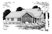 Country Style House Plan - 3 Beds 2 Baths 1995 Sq/Ft Plan #20-2037 Exterior - Rear Elevation