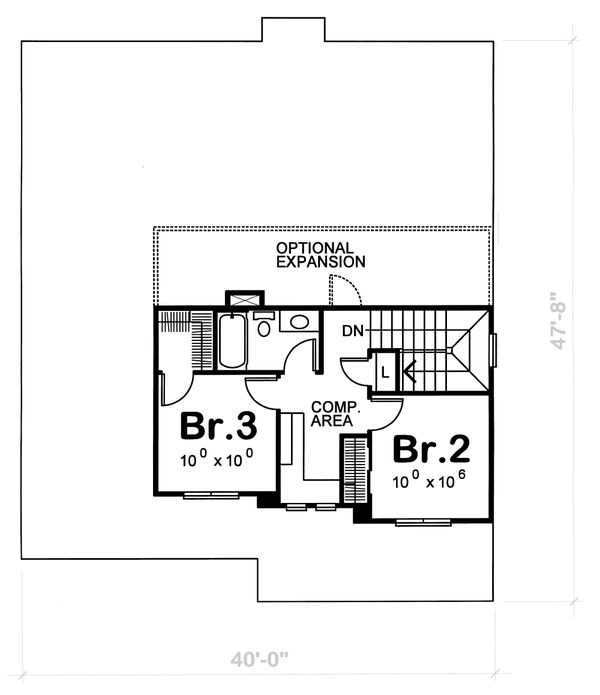 Craftsman Floor Plan - Upper Floor Plan Plan #20-1220