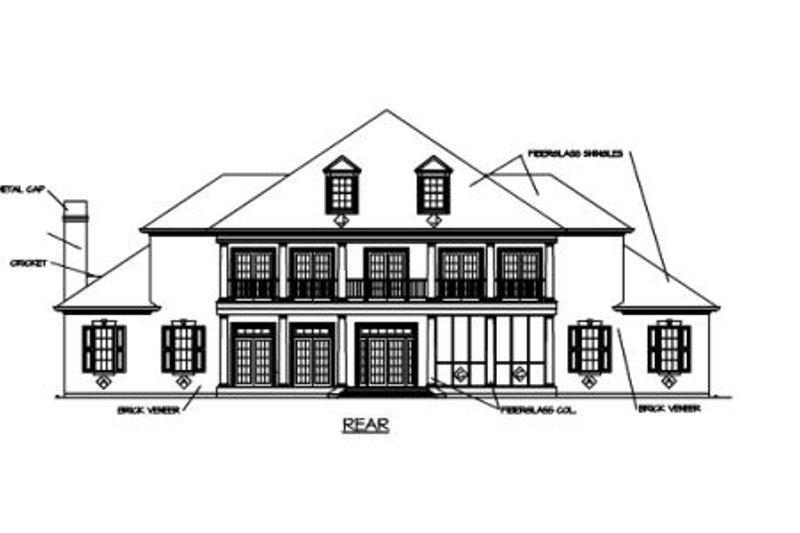 Southern Exterior - Rear Elevation Plan #325-246 - Houseplans.com