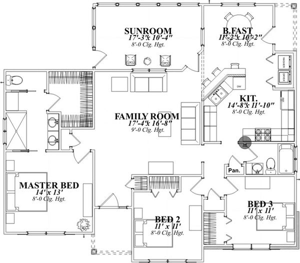 Traditional Floor Plan - Main Floor Plan Plan #63-317