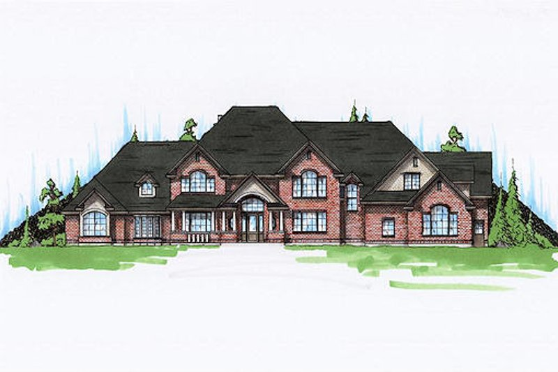 European Style House Plan - 7 Beds 4.5 Baths 6785 Sq/Ft Plan #5-453 Exterior - Front Elevation
