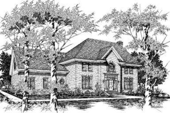 European Exterior - Front Elevation Plan #329-120