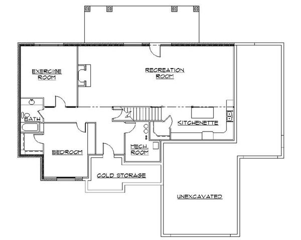 Architectural House Design - Traditional Floor Plan - Lower Floor Plan #5-256