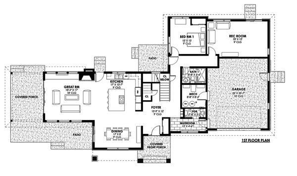 Contemporary Style House Plan - 4 Beds 3.5 Baths 3334 Sq/Ft Plan #1042-19 Floor Plan - Main Floor Plan