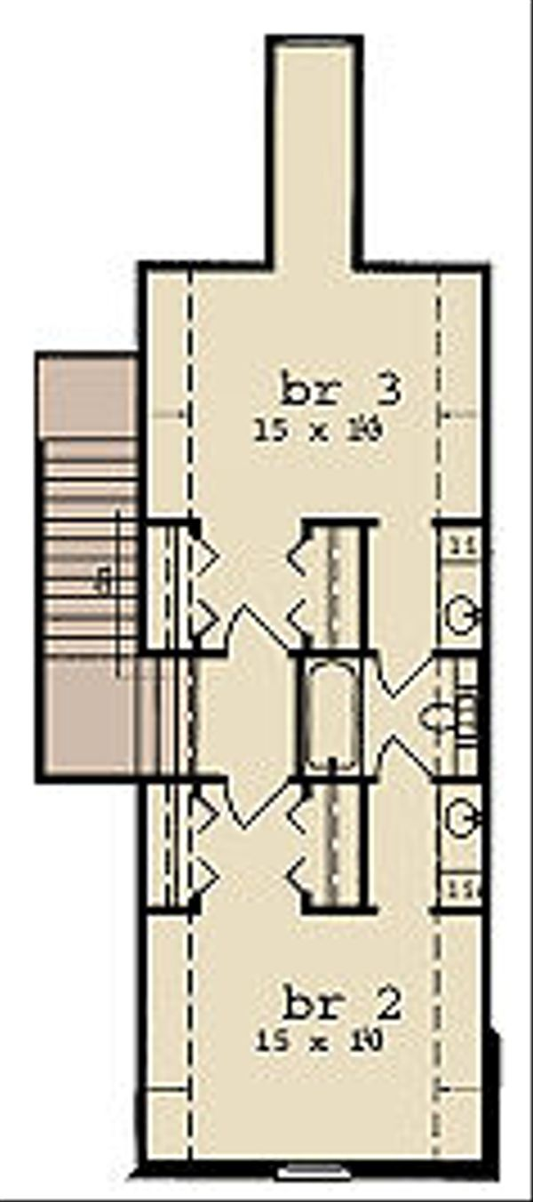 European Floor Plan - Upper Floor Plan Plan #36-475