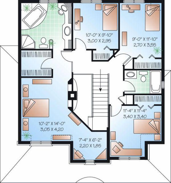 Farmhouse Floor Plan - Upper Floor Plan Plan #23-864