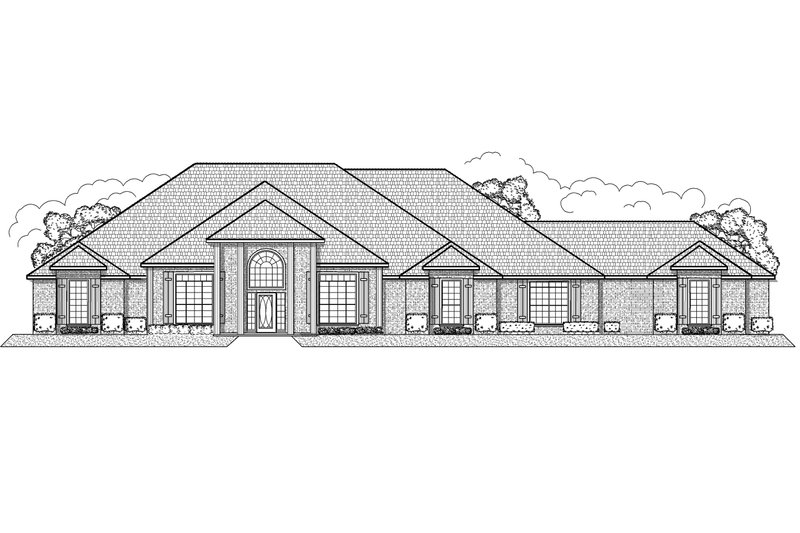 Classical Style House Plan - 4 Beds 5 Baths 5143 Sq/Ft Plan #65-458 Exterior - Front Elevation