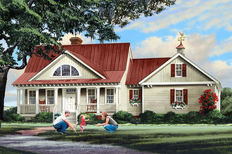 Country Exterior - Front Elevation Plan #137-296