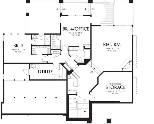 Contemporary Floor Plan - Lower Floor Plan Plan #48-255