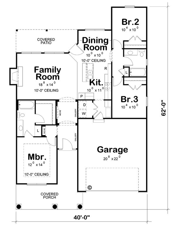 House Plan Design - Cottage Floor Plan - Main Floor Plan #20-2193