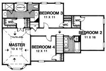 Traditional Floor Plan - Upper Floor Plan Plan #30-348