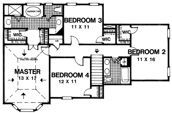 House Design - Traditional Floor Plan - Upper Floor Plan #30-348