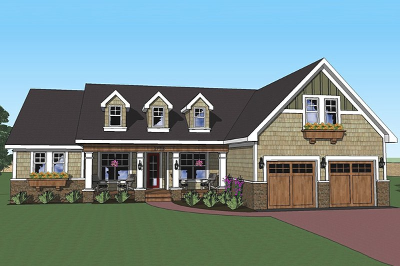 House Plan Design - Craftsman country style house elevation