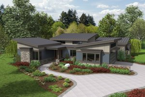 Modern Exterior - Front Elevation Plan #48-497