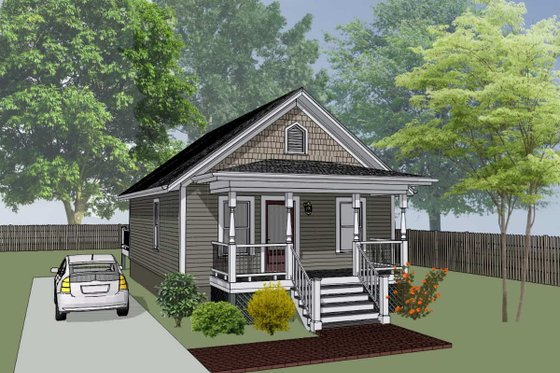 Cottage Exterior - Front Elevation Plan #79-102