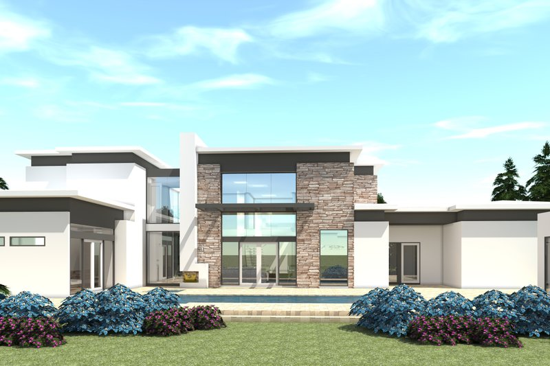 Modern Exterior - Rear Elevation Plan #64-228 - Houseplans.com